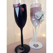 Csipke bársony esküvői pohár
