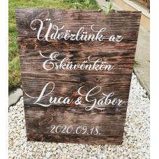 Plexi fa hatású vintage üdvözlő tábla