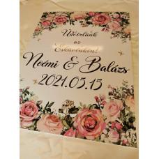 Nyomtatott virágos esküvői tábla