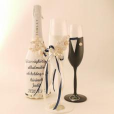 Navy kék / Fehér pezsgős szett