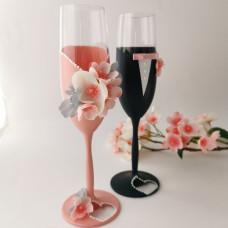 Cseresznyevirágos esküvői poharak