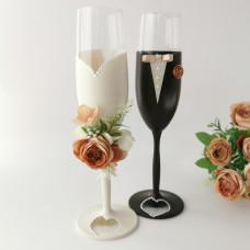 Barna elegancia esküvői poharak