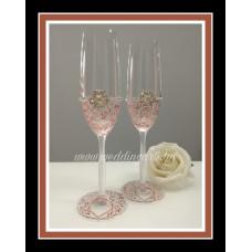 Opál-bronz pezsgős poharak