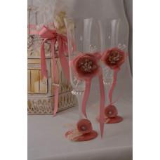 Púder rózsa pezsgőspohár