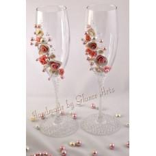 3D gyöngy-virág pezsgőspohár