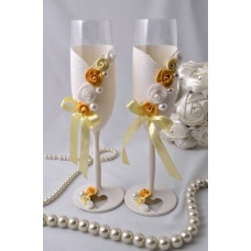 Halvány pasztell sárga Esküvői poharak