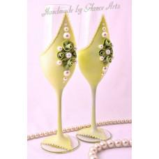 Elegance green esküvői pohár