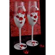 Fehér-piros pezsgős pohár