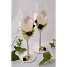 Zöld-barna esküvői pohár