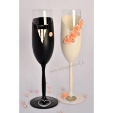 Barack színű menyasszony- vőlegény pohár