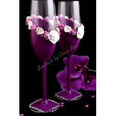 Szeder színű pezsgős poharak