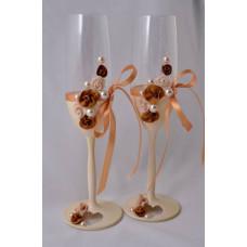 Arany-krém esküvői pohár
