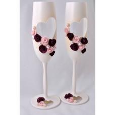 Bordó esküvői pezsgős pohár