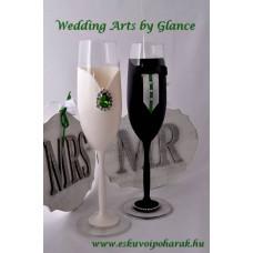 Menyasszony vőlegény esküvői poharak
