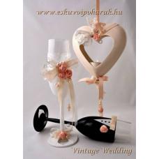 Vintage wedding pezsgős pohár