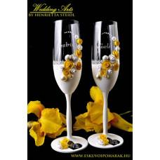 Citromsárga fehér esküvői poharak
