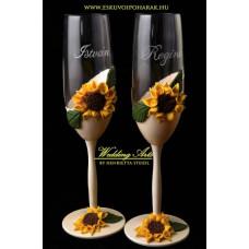 Napraforgós pezsgős poharak