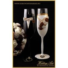 Fehér-arany esküvői pohár