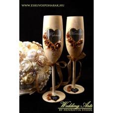 Golden antikolt esküvői pezsgős pohár