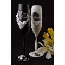 Fekete-fehér pezsgős pohár