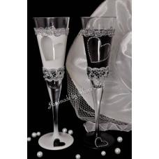 Fehér-fekete pezsgős pohár