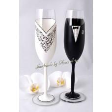 Fekete legény, f. menyasszony Pezsgős poharak