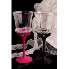 Pink-fekete esküvői poharak