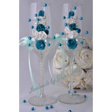 Türkiz 3D gyöngyös pezsgős pohár