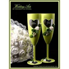 Tavaszi zöld pezsgős pohár